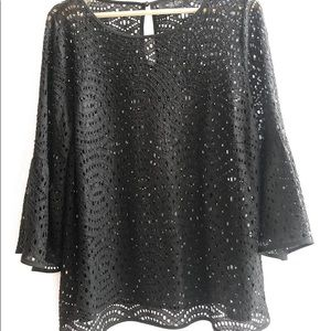 BLACK BELL SLEEVE TOP | SIZE 14